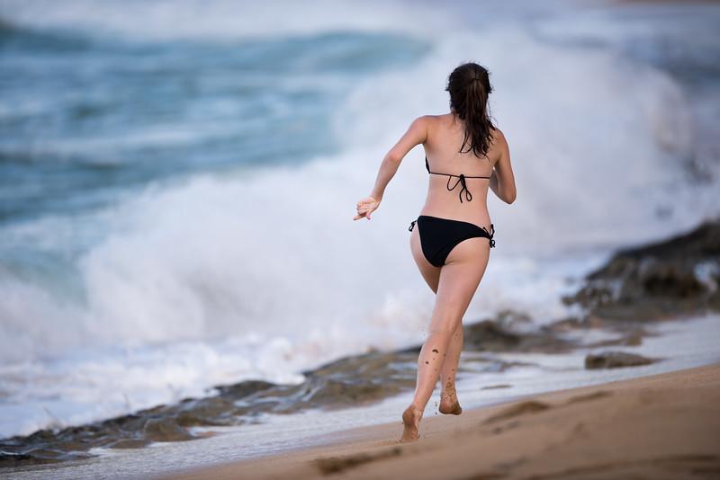 Kicking Up The Beach Sand