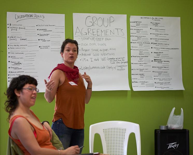 CISPES coordinators begin training of the 40 person delegation