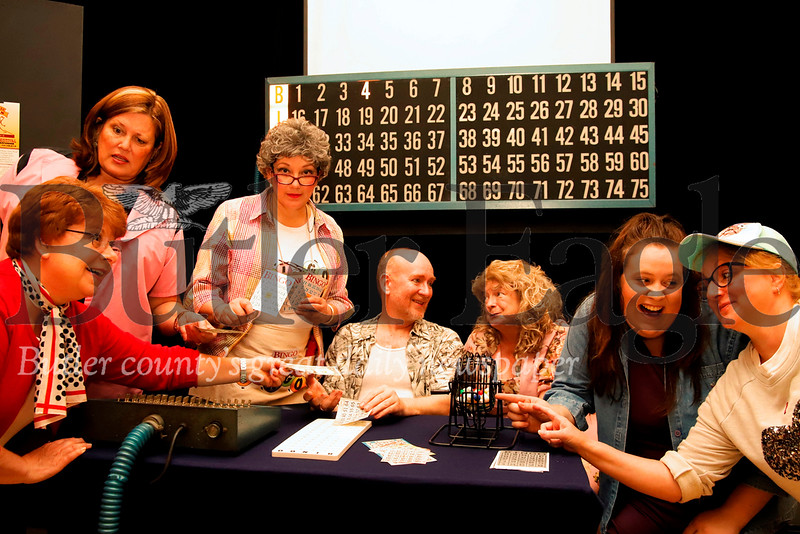 Left to right: Robin Kriley as 'Burnice'; Paula Floyd as 'Vern'; Cindy West as 'Minnie';  Eric Snyder as 'Sam'; Davlin Smith as 'Honey'; Ariana O'Donnell as 'Alison' and Tammy Erkman as 'Patsy.'  Seb Foltz/Butler Eagle