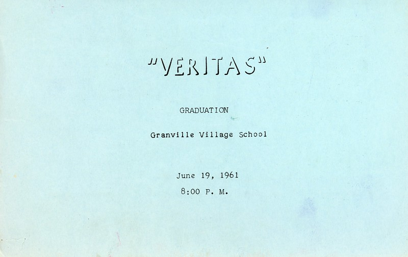 Granville Village School Graduatio Program, June 19, 1962