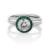 1.30ctw Old European Cut Diamond Emerald Target Ring 0