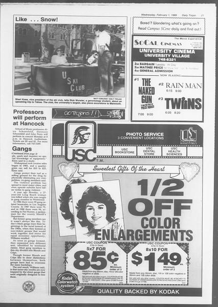 Daily Trojan, Vol. 108, No. 14, February 01, 1989