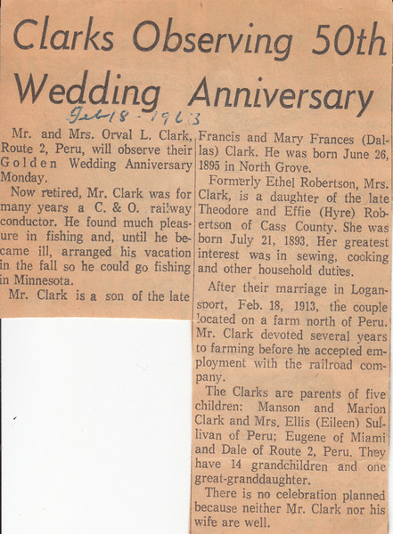 Newspaper Clipping - Orval & Ethel Clark - 50th Wedding Anniversary - February 18, 1963.jpg