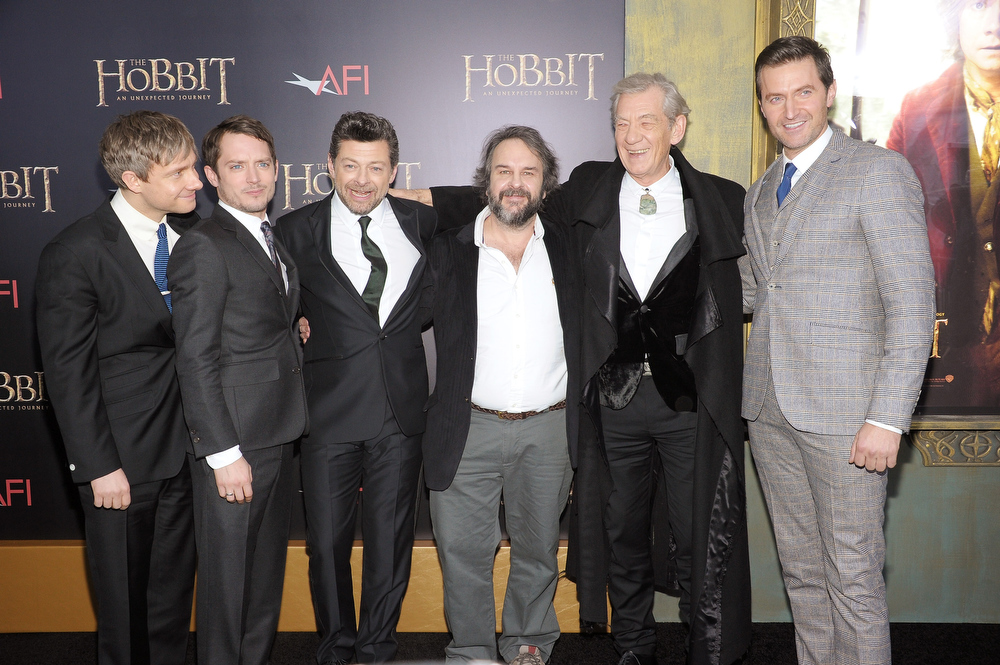 "Description of . Martin Freeman, Elijah Wood, Andy Serkis, Sir Peter Jackson, Sir Ian McKellen, and Richard Armitage attend ""The Hobbit: An Unexpected Journey\"" New York premiere benefiting AFI - Red Carpet And Introduction at Ziegfeld Theater on December 6, 2012 in New York City.  (Photo by Michael Loccisano/Getty Images)"
