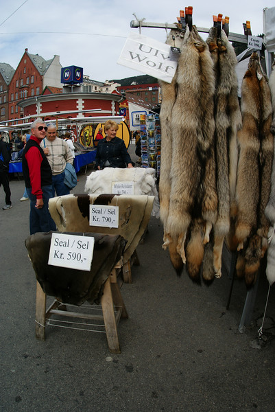 Bergen street market.  Whether these are set up for the cruise ship or are normal, I don't know.  There were many varieties of foods and crafts.  Those are seal furs.