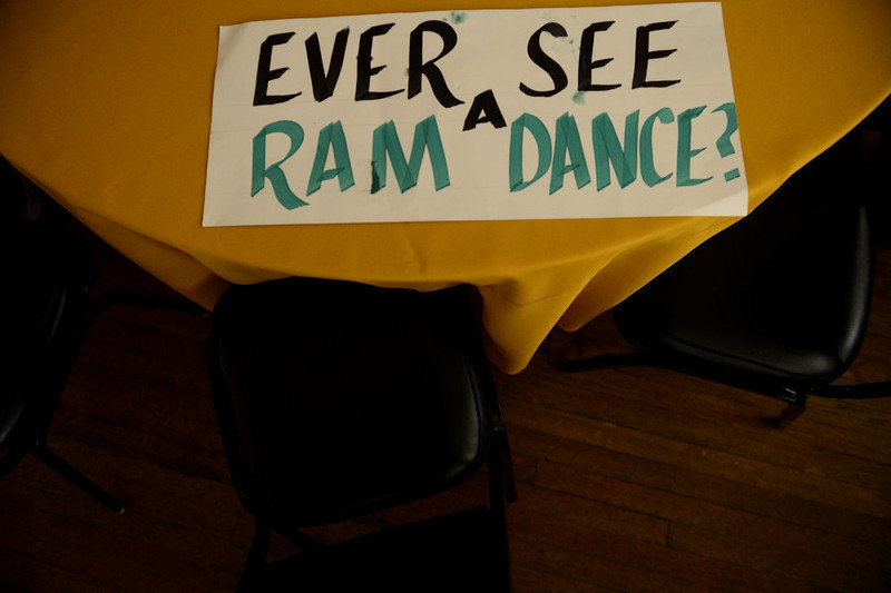 . A sign supporting CSU sits on a table during the NCAA tournament selection show. The Rams earned an eight seed and will play ninth-seeded Missouri in the second round. (Photo by AAron Ontiveroz/The Denver Post)