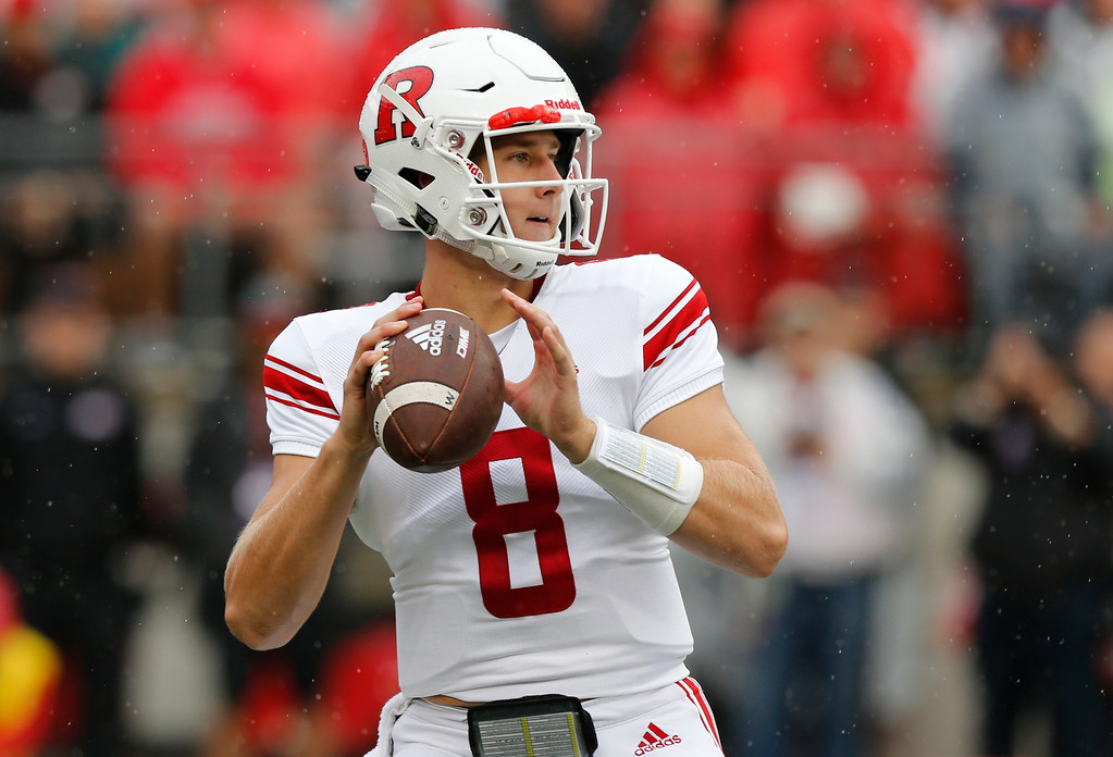 . Rutgers quarterback Artur Sitkowski drops back to pass against Ohio State during the first half of an NCAA college football game Saturday, Sept. 8, 2018, in Columbus, Ohio. (AP Photo/Jay LaPrete)