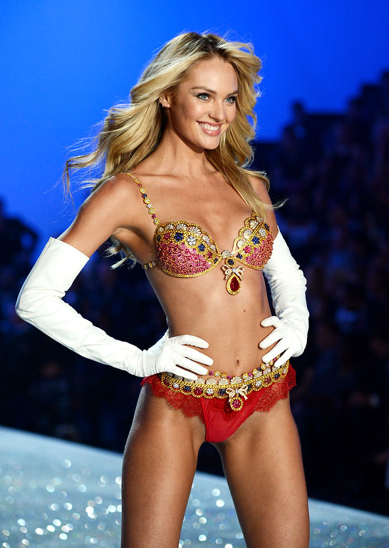. Model Candice Swanepoel walks the runway wearing the $10 million Royal Fantasy Bra during the 2013 Victoria\'s Secret Fashion Show at the 69th Regiment Armory on Wednesday, Nov. 13, 2013 in New York. (Photo by Evan Agostini/Invision/AP)