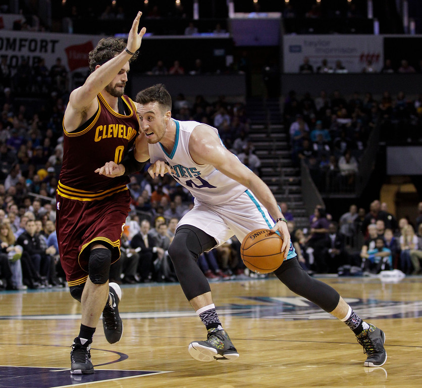 . Charlotte Hornets center Frank Kaminsky, right, drives into Cleveland Cavaliers forward Kevin Love during the first half of an NBA basketball game Wednesday, Feb. 3, 2016 in Charlotte, N.C. (AP Photo/Nell Redmond)