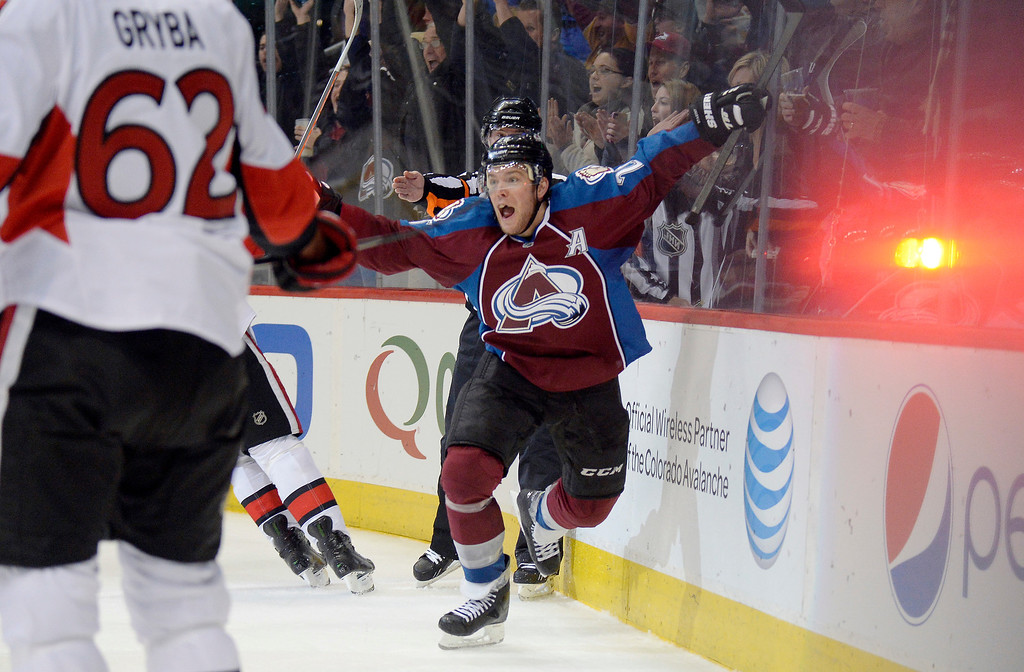 . Colorado Avalanche center Paul Stastny (26) celebrates his game tying goal late in the third period against the Ottawa Senators January 8, 2014 at Pepsi Center. Colorado Avalanche defeated the Ottawa Senators 4-3 in overtime.  (Photo by John Leyba/The Denver Post)