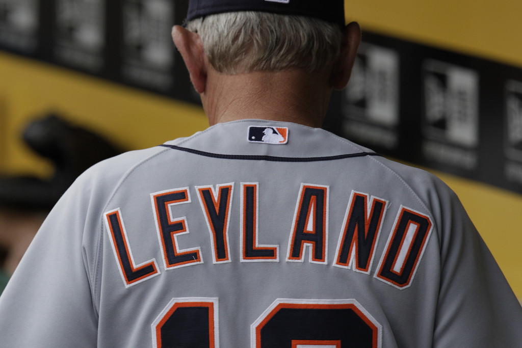 . Detroit Tigers manager Jim Leyland stands in the dugout before a baseball game against the Pittsburgh Pirates in Pittsburgh Sunday, June 24, 2012. The Tigers won 3-2. (AP Photo/Gene J. Puskar)