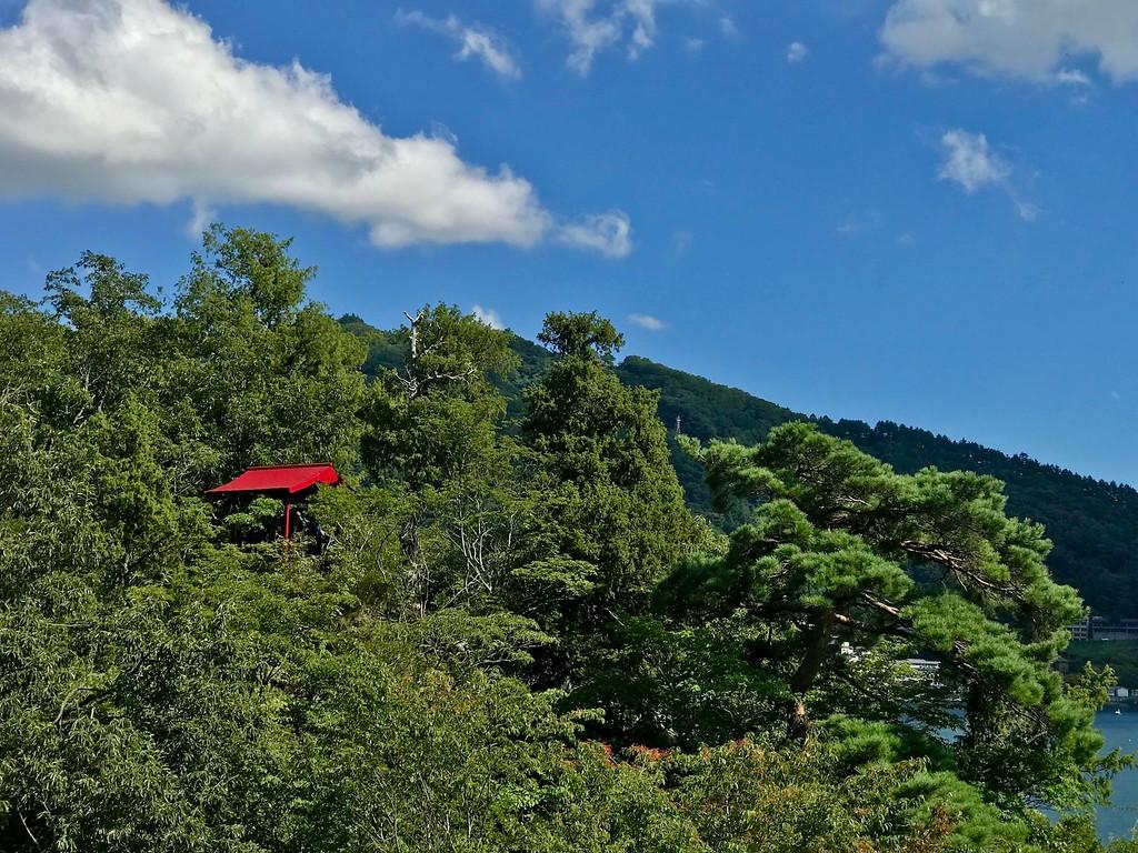 Ubuyagasaki Cape as viewed from the Kawaguchiko-ohashi Bridge.