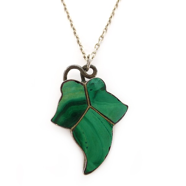 Antique Victorian Silver Malachite Ivy Pendant Necklace