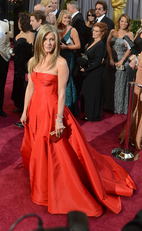 . Jennifer Aniston arrives at the 85th Academy Awards at the Dolby Theatre in Los Angeles, California on Sunday Feb. 24, 2013 ( Hans Gutknecht, staff photographer)