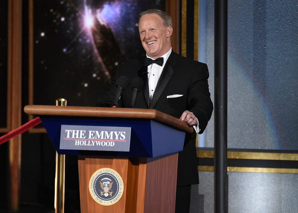 . Sean Spicer speaks at the 69th Primetime Emmy Awards on Sunday, Sept. 17, 2017, at the Microsoft Theater in Los Angeles. (Photo by Chris Pizzello/Invision/AP)