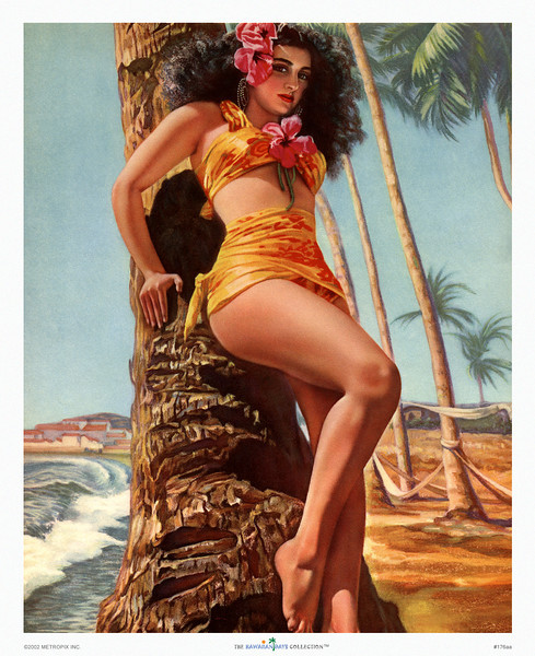 176: 'Hawaiian' Pinup -- Calendar Illustration, ca 1946. In the field of Hawaiiana there are always borderline cases where you're left wondering as to what extent the picture can be tied to Hawaii, so we closely study ethnicity, fauna, flora, currents, cloud formations, anything that can help pinpoint a date, a location, or the name of the maker. Not that it matters much. Hawaiiana is not about the real Hawaii, but about someone's perception of Hawaii, even if that includes elements such as the Greek-style village in the background of this picture... What's your idea of Hawaii?