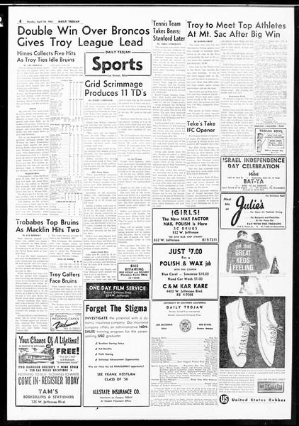 Daily Trojan, Vol. 52, No. 111, April 24, 1961