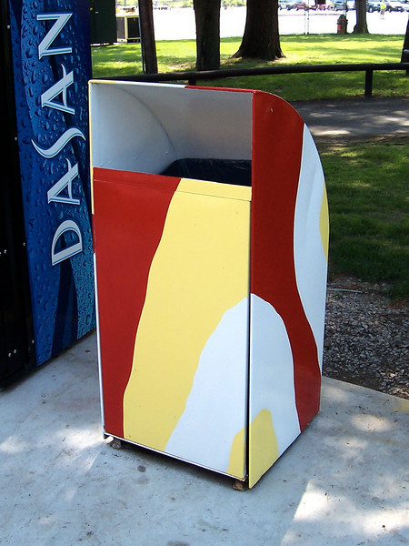 Hot dog stand themed trash can.