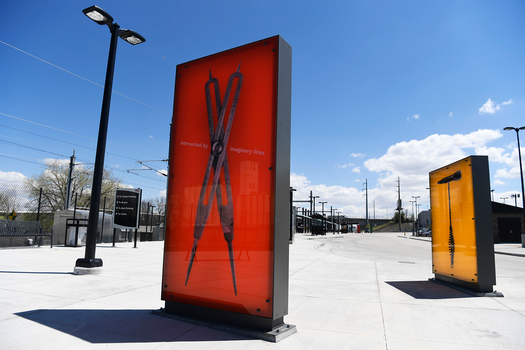 . DENVER, CO - May 03:  Two panels of several from an art installation from artist Erik Carlson entitled �Hands On,� at the RTD\'s University of Colorado A Line station at 40th and Colorado May 03, 2016. The public art piece is part of the RTD\'s ART-N-TRANSIT program. (Photo by Andy Cross/The Denver Post)