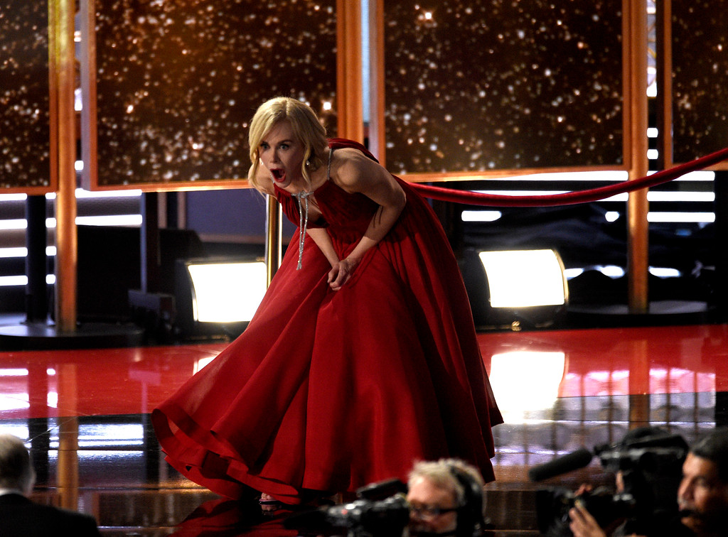 """. Nicole Kidman reacts onstage while accepting the award for outstanding limited series for \""""Big Little Lies\"""" at the 69th Primetime Emmy Awards on Sunday, Sept. 17, 2017, at the Microsoft Theater in Los Angeles. (Photo by Chris Pizzello/Invision/AP)"""