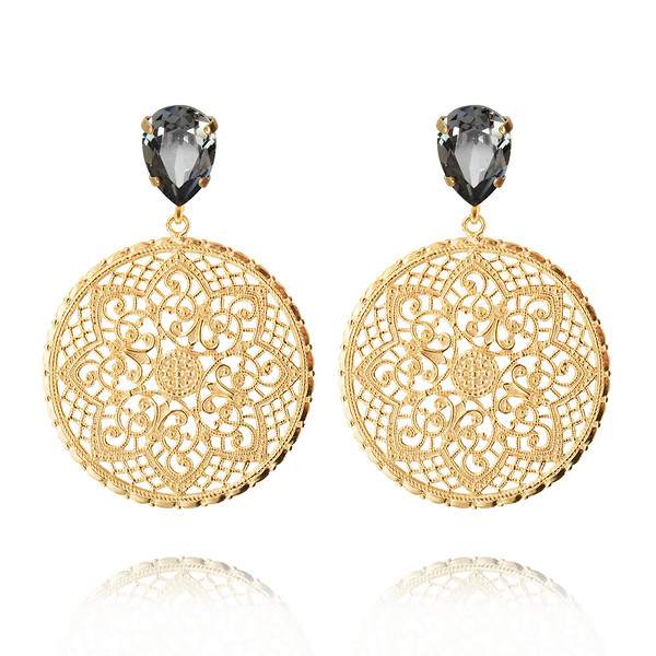 Alexandra Earrings / Black Diamond / Gold