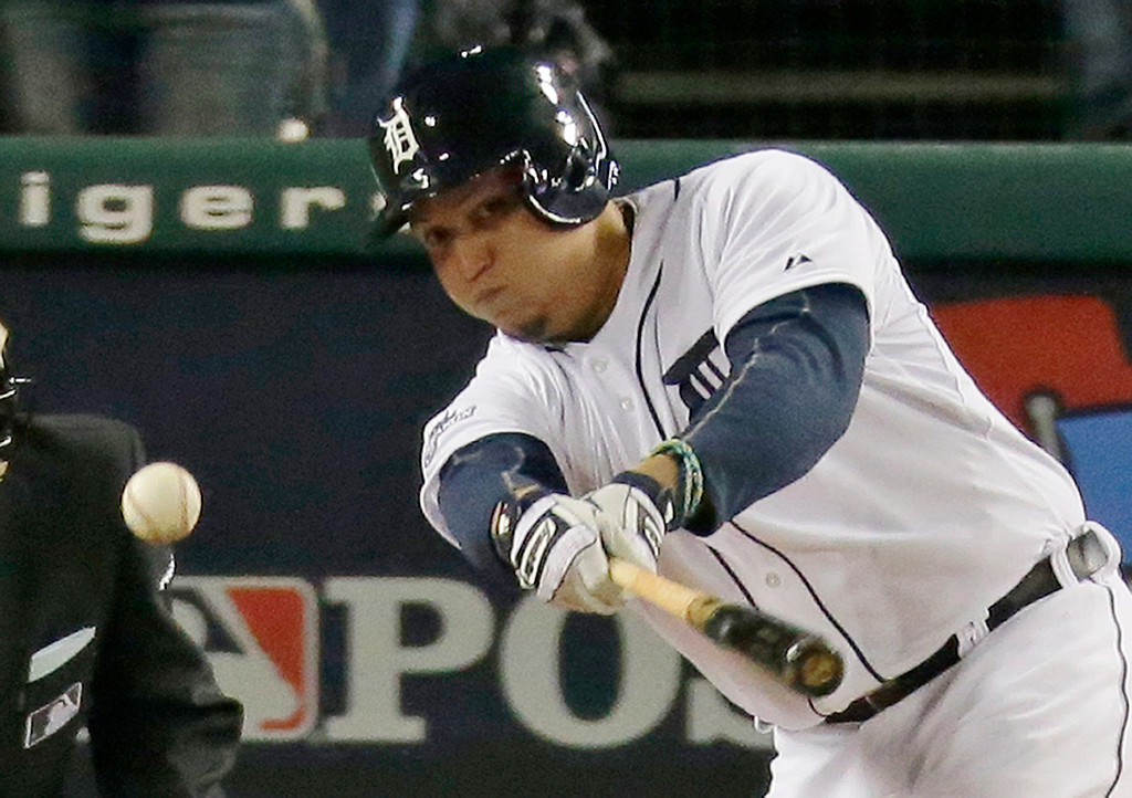 . Detroit Tigers\' Miguel Cabrera hits a single in the second inning during Game 4 of the American League baseball championship series, against the Boston Red Sox, Wednesday, Oct. 16, 2013, in Detroit. (AP Photo/Charlie Riedel)