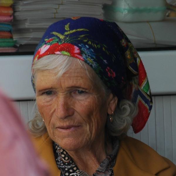Elderly Woman in Floral Bandana - Almaty, Kazakhstan