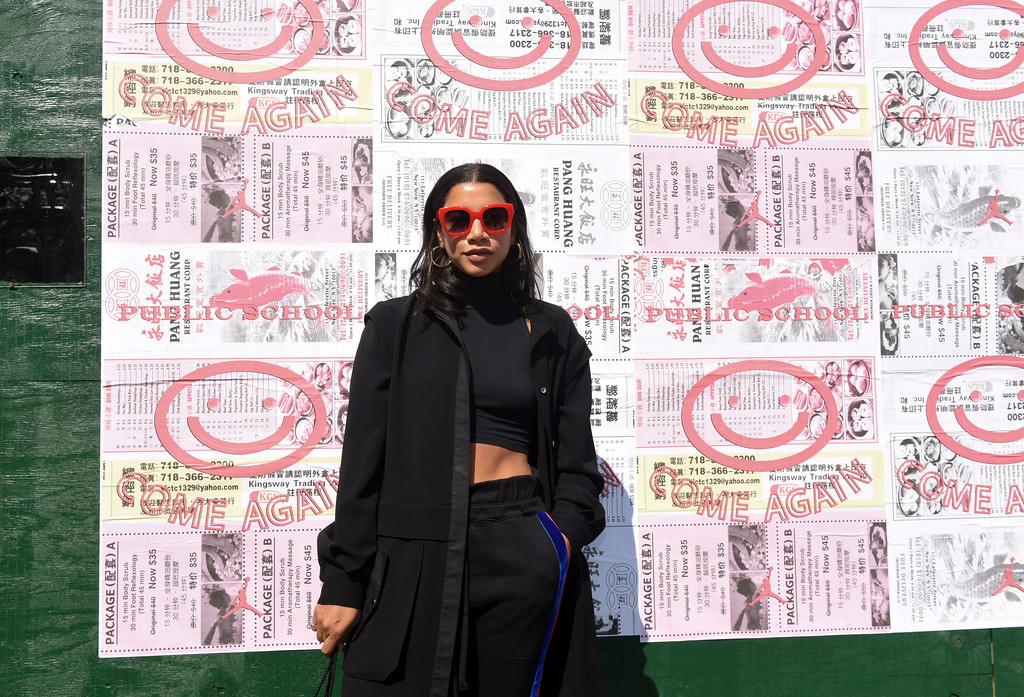 . Hannah Bronfman attends the Public School Spring 2018 show during New York Fashion Week, Sunday, Sept. 10, 2017, in the Chinatown neighborhood of New York. (AP Photo/Diane Bondareff)