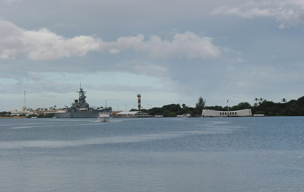 Pearl Harbour, with USS Missouri on the left, and the USS Arizona memorial on the right.  This was 'battleship row' on 5 December 1941.