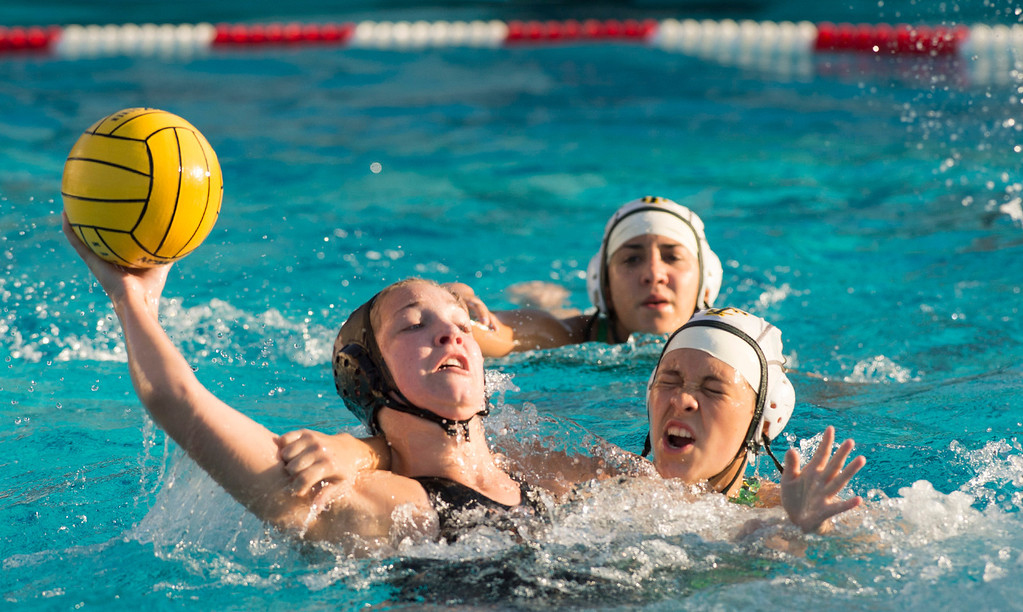 . La Serna High\'s Katie Hill is fouled taking a goal shot vs Temple City High in the CIF-SS girls water polo first-round game at Whittier High Feb. 14, 2013.   (SGVN/Staff photo by Leo Jarzomb)
