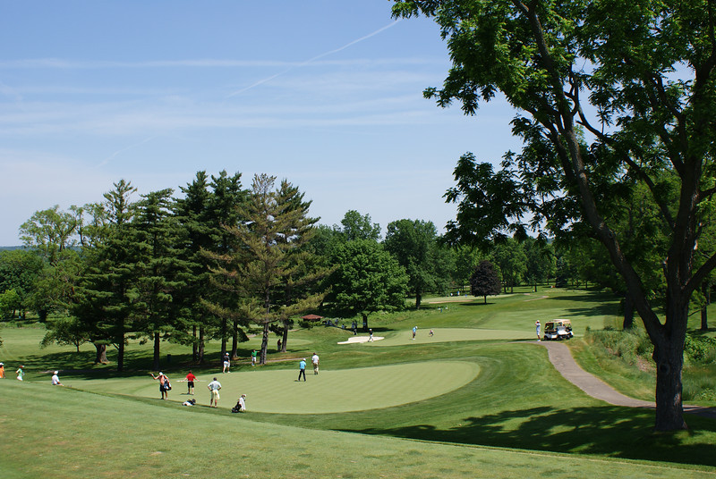 Action on the 15th (near) and 13th (distant) during U.S. Open Qualifying at Springfield CC.