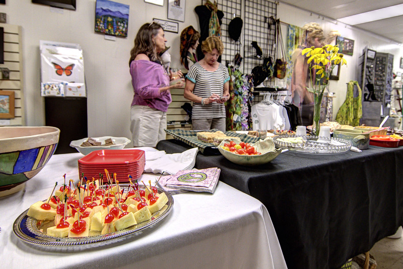A reception for visitors at the City Gallery on Main Street in Galax, VA on Friday, August 9, 2013. Copyright 2013 Jason Barnette