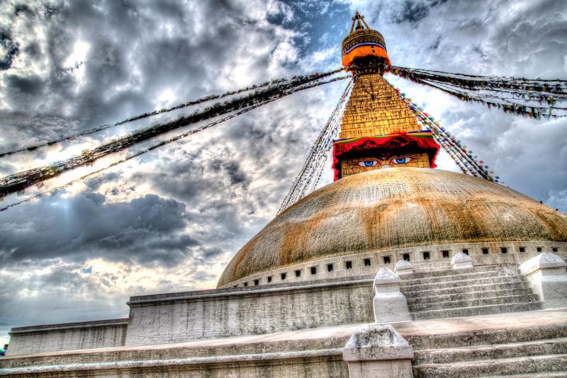 Main Stupa at Boudinha, the Tibetan Buddhist enclave.