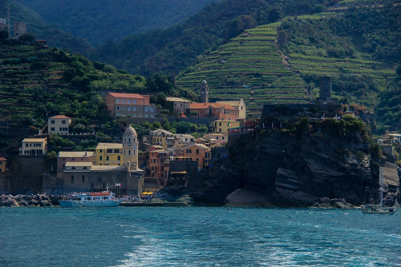 Vernazza, Italy. A rough stone walking trail connects the 4 northernmost towns of Cinque Terre. A nice, smooth path links Manarola to Riomaggiore.