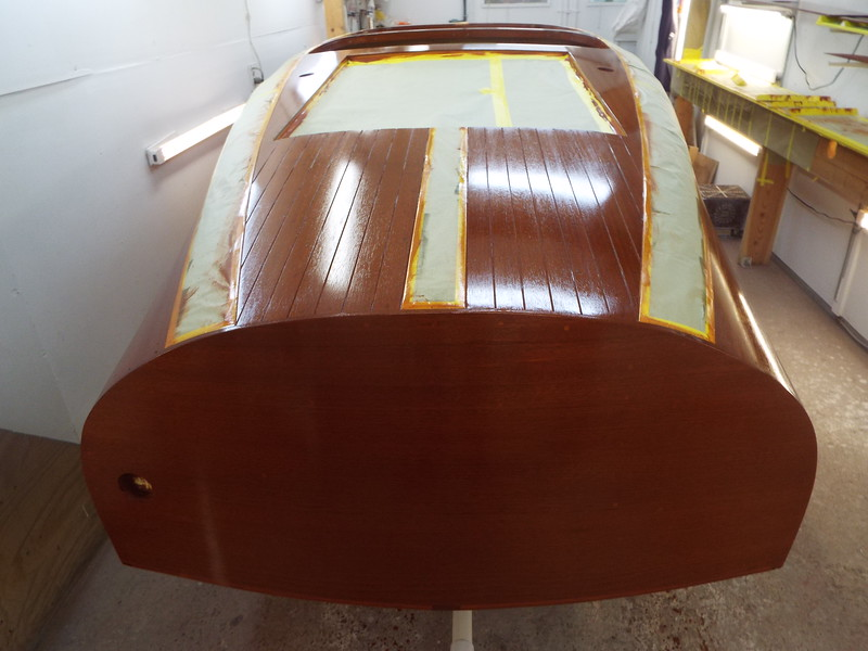 Rear deck and transom with sealer applied.