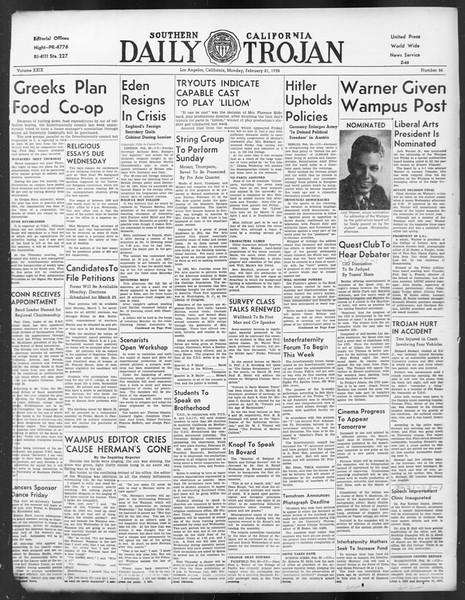 Daily Trojan, Vol. 29, No. 84, February 21, 1938