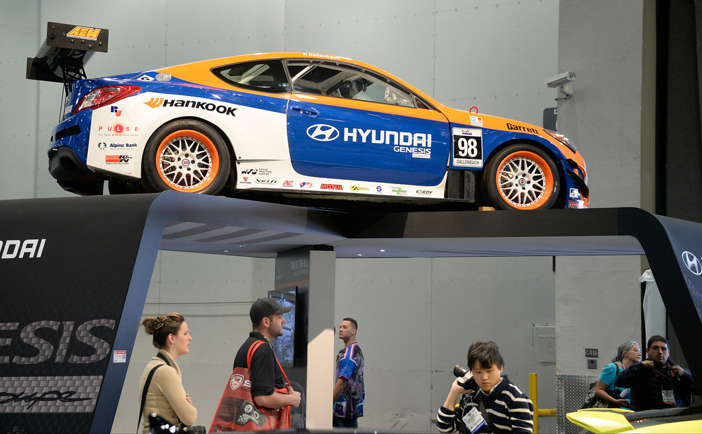 . Nov 6,2013 Las Vegas NV. USA. Some of the custom Hyundai cars by Bismoto Engineering Genesis Coupe on display during the second day of the 2013 SEMA auto show. Photo by Gene Blevins/LA Daily News