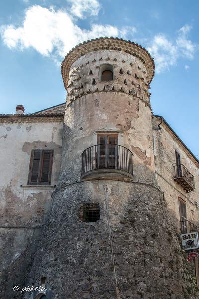 One of the towers in Fornelli, an old walled city, relatively well preserved.  As can be seen from the sign in the lower right, still  being utilized.