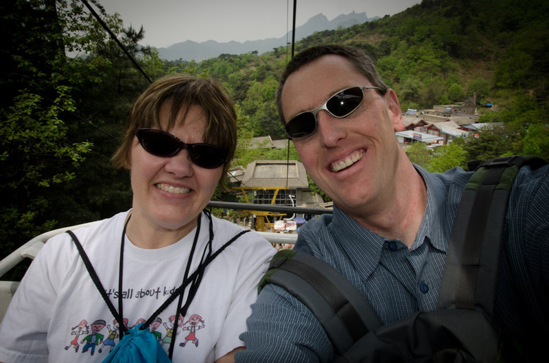 We rode a ski-lift style cable car to the top - maintenance didn't appear to be daily....nervous...especially with a big lug sitting next to Darla!
