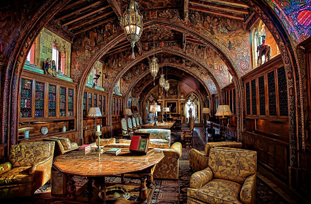 <h2>The Gothic Study, Hearst Castle</h2> William Randolph Hearst met with his advisors in this room. It's one of the 'small' libraries, petite by comparison with the main library. Every square inch is covered with some amazing bit of artwork; as is the entire place.   Hearst and his architect Julia Morgan worked on Hearst Castle for 28 years - and still didn't finish it. Amazing.
