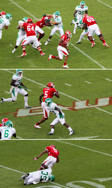 Three shot sequence of Sims running the ball and finally being brought down