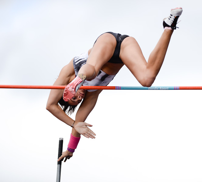 Jennifer Suhr clears during the women's Pole Vault at the Muller Athletics Grand Prix Birmingham