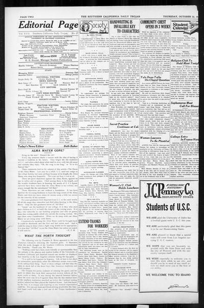 Daily Trojan, Vol. 17, No. 27, October 22, 1925