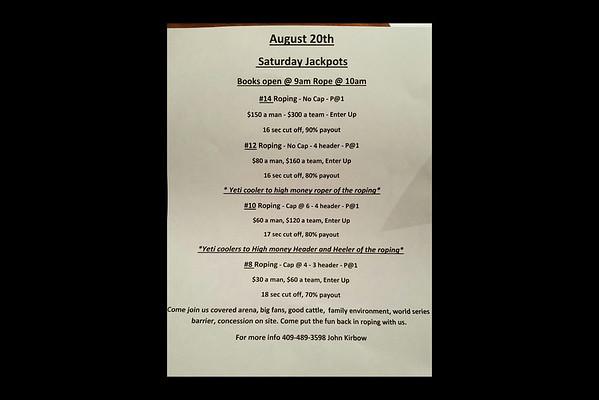 8-20-2016 T2 Arena  Saturday Jackpots