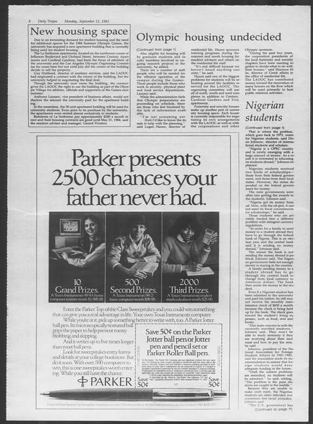 Daily Trojan, Vol. 94, No. 5, September 12, 1983