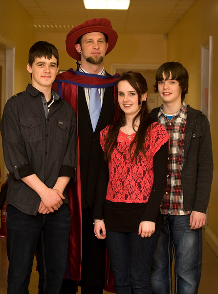 4/1/2012. News. Waterford Institute of Technology (WIT), conferring ceremony. Pictured is Larry Fitzhenry, Enniscorthy, Co Wexford who was conferred a Doctor of Philosophy, also pictured are his children Adam, Rebecca and Thomas. Photo Patrick Browne