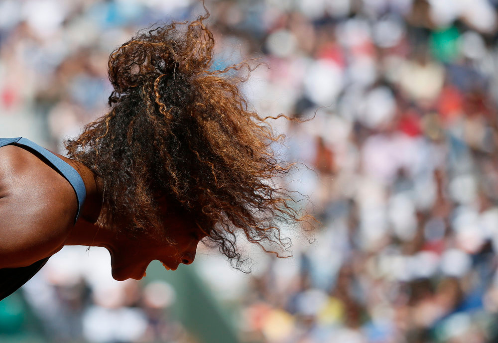 . USA\'s Serena Williams reacts after losing a point against Russia\'s Svetlana Kuznetsova during their French Tennis Open quarter final match at the Roland Garros stadium in Paris, on June 4,  2013.   PATRICK KOVARIK/AFP/Getty Images