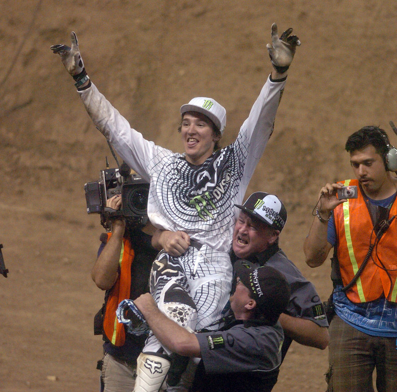 . Blake Williams celebrates his win in the MOTO X Freestyle during the ESPN X Games at the Home Depot Center in Carson on Saturday August 1, 2009. Blake Williams wins the Gold Medal. (SGVN/Staff Photo by Keith Durflinger/SPORTS)
