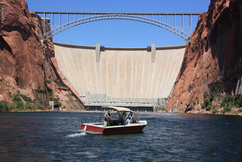 Glen Canyon Dam and Lees Ferry Anglers Guide Boat.jpg