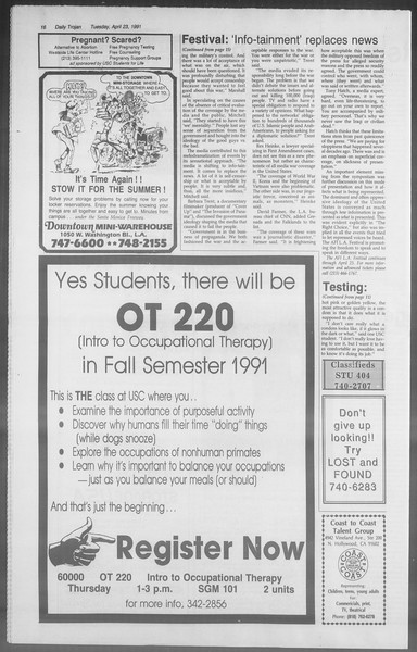 Daily Trojan, Vol. 114, No. 65, April 23, 1991